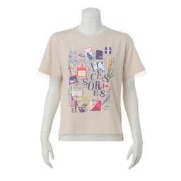 チュール使い アートプリント Tシャツ (ア)ベージュ