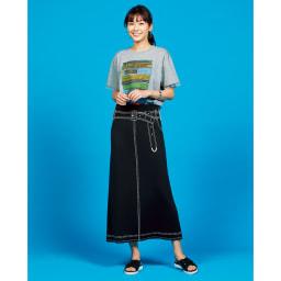 トロンプルイユ(だまし絵) リバーシブル ニットスカート コーディネート例