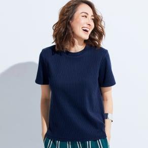 スビンギザコットン ワイドリブ 半袖 Tシャツ 写真