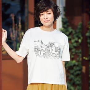 ランドスケープ刺しゅう Tシャツ 写真