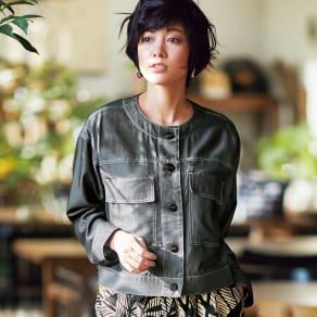 シャンブレー ノーカラー シャツジャケット 写真