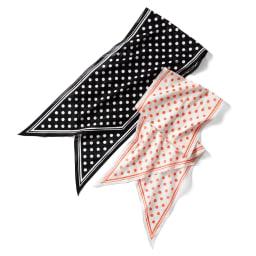 ドット柄 コットンローン スカーフ 左から (ア)ブラック×ホワイト (イ)アイボリー×オレンジ