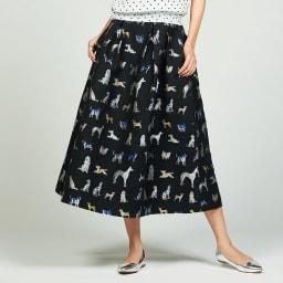 ドッグ柄 ジャカード織り フレアースカート 着用例