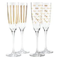 ゴールドプリント シャンパングラス(同柄2個セット)
