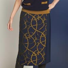 フランス生地使い ベルト柄 ラップ風スカート