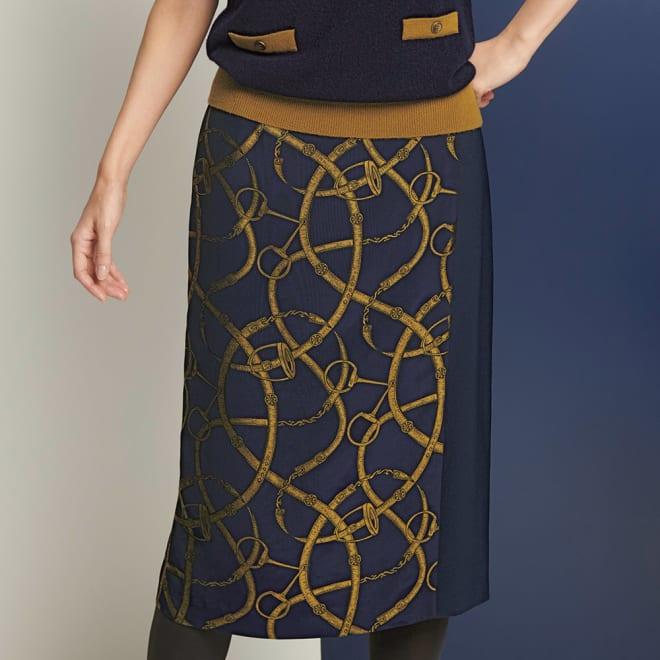 フランス生地使い ベルト柄 ラップ風スカート 着用例