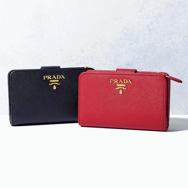 PRADA/プラダ 二つ折り財布(イタリア製) 左から (ア)ブラック (イ)レッド