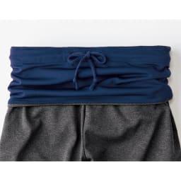 イージーウォームサウナスーツ お腹周りも温められるハイウエストデザインで、折り返しても着用可。内側の紐でウエストのサイズ調整ができます。