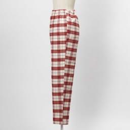 セシール 軽くてあったか中空糸パジャマ(綿100%・日本製) (イ)レッド系・・・パンツSIDE