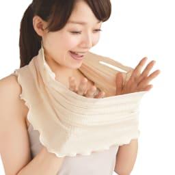シルクおやすみフェイスマスク 伸縮性が高いので圧迫感がなく、ゆったり楽に使用できます。