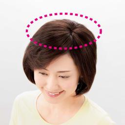 ミニつむじヘアピース (レギュラー) 1ヵ所を留めることで簡単装着。つむじ部分から両サイドまで広めにカバーしながら、まわりの髪も自然にボリュームアップします。