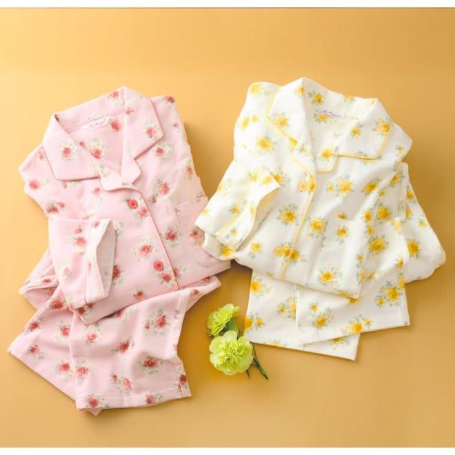 綿毛布シャツパジャマ(日本製) 左から (ア)ピンク (イ)クリーム