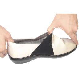 TOPDRY/トップドライ ゴアテックススリッポン 内側のサイドゴア部分はストレッチ素材で脱ぎ履きしやすい。
