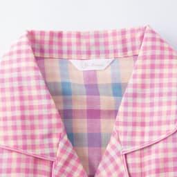 ダブルガーゼ シャツパジャマ 背中に縫い目がないので快適。