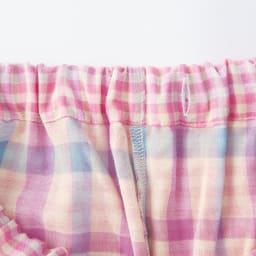 ダブルガーゼ シャツパジャマ ウエストはゴム仕様で取替可能。