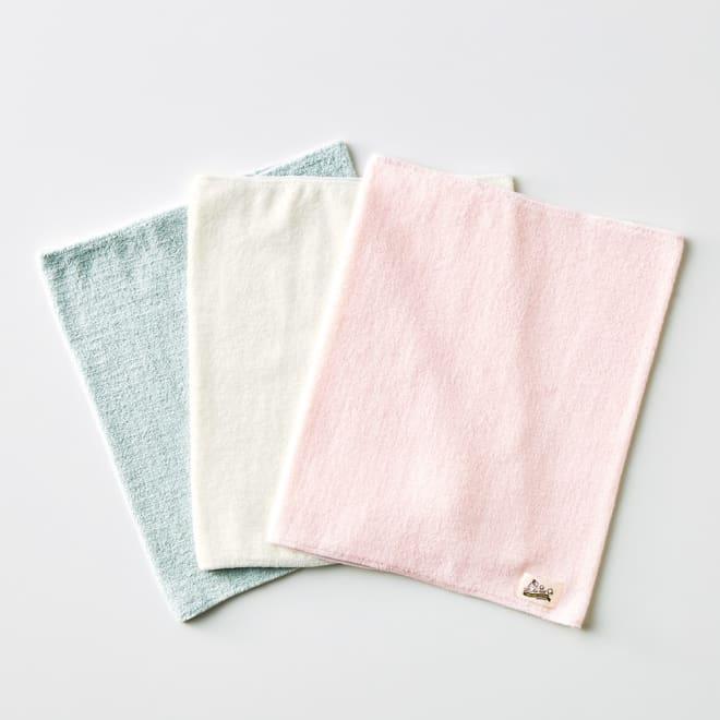 エアーかおる パイル腹巻 (同色同サイズ2枚組) 左から(イ)ブルーグレー (ウ)オフホワイト (ア)ピンク