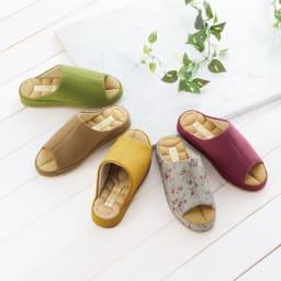 あとりえOKADA 靴屋が作った洗えるルームシューズ (ア)小花 (イ)ブラウン (ウ)イエロー (エ)グリーン (オ)ピンク 中敷の凹凸で、足裏がムレにくく気持ちいい!