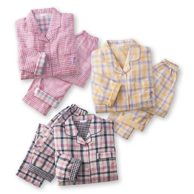 ダブルガーゼ シャツパジャマ 上から時計回りに(ア)ピンクギンガム (ウ)イエローチェック (イ)ネイビーチェック