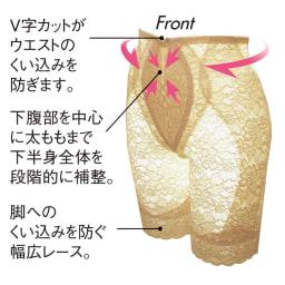 タムラの多機能総レースシリーズ ロングガードル (ウ)フラックスベージュ Front