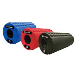 DOCTORAIR/ドクターエア ストレッチロールS 左から(ウ)ブルー (イ)レッド (ア)ブラック ストレッチロールS 4段階の振動をセレクト可能。4面のグリッドパターンで使用部位や振動に合わせて使い分けできます。