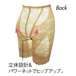 タムラの多機能総レースシリーズ ロングガードル (ウ)フラックスベージュ Back
