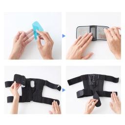 Medi KARADA/メディカラダ ひざ用EMSサポーター 【ご使用方法】(1)ゲルパッドの青いフィルムを剥がす (2)ゲルパッドをコントローラーに貼付 (3)コントローラーをサポーターに付ける (4)サポートベルトを外す
