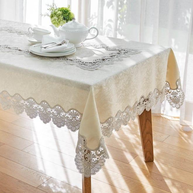 撥水加工 レースのテーブルクロス コーディネート例(イ)ベージュ ※写真は幅115奥行148cmタイプです。