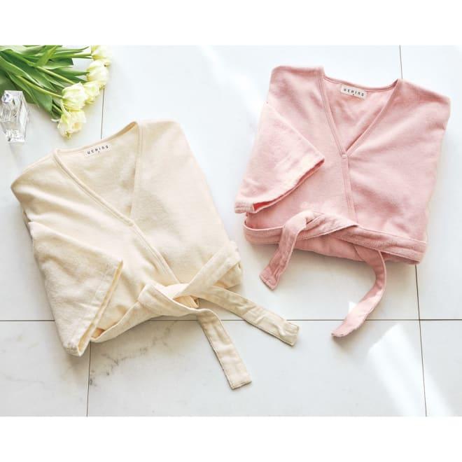内野(ウチノ)/UCHINO さっと羽織れる レディースローブ 左から(ウ)アイボリー、(イ)ピンク