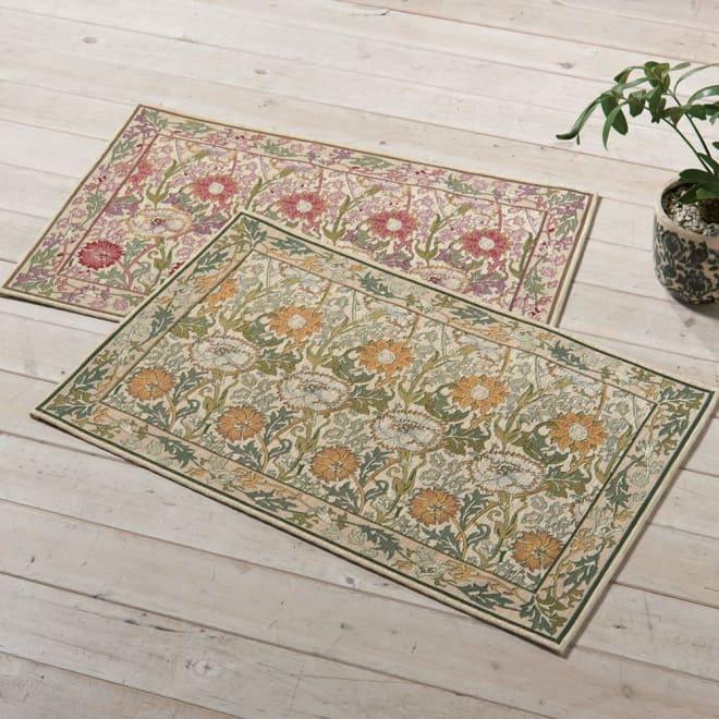 ベルギー製モリス ゴブラン織マット〈ピンク&ローズ〉 上から(ア)ピンク系、(イ)イエロー系 ※写真は60×90cmタイプです。