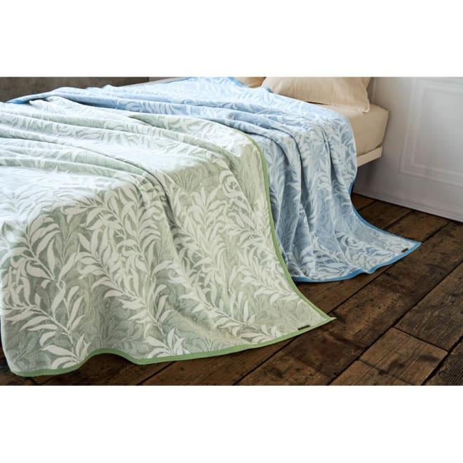 モリスギャラリー 綿毛布〈ウィローボウ〉 左から(イ)グリーン (ア)ブルー