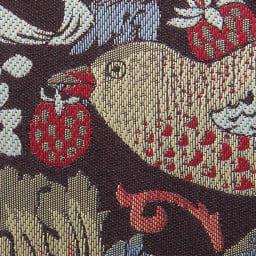 V&A モリス〈いちご泥棒〉ジャカード生地晴雨兼用傘 長傘 素材アップ(ア)ブラック/エンジ 高級感のあるジャカード織り。