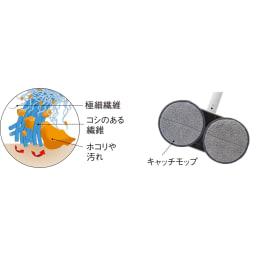 コードレス回転モップクリーナーNEO 洗剤不要、水で濡らすだけでこびりついた汚れをかき出して絡めとる特殊繊維の「キャッチモップ」を採用。繰り返し使えて着脱もワンタッチ。