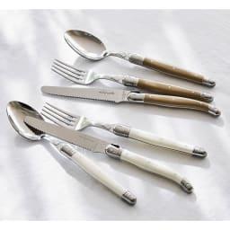 ジャンデュポ ライヨール ナイフ&フォーク&スプーン 3本セット 上から(イ)カフェオレ (ア)ホワイト ※お届けはナイフ&フォーク&スプーンの3本セットです。