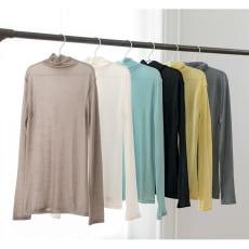 シルク・超長綿接結ハイネック長袖プルオーバー 色とサイズが選べる2枚組