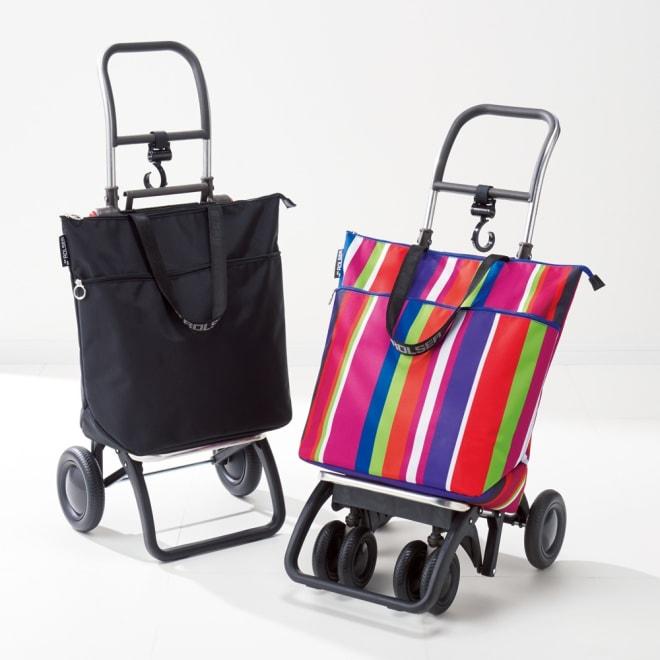 ロルサーショッピングカート カート2輪バッグ付き 右から (ア)ブラック (ウ)カラフル ※お届けは左側のカート2輪バッグ付きです。