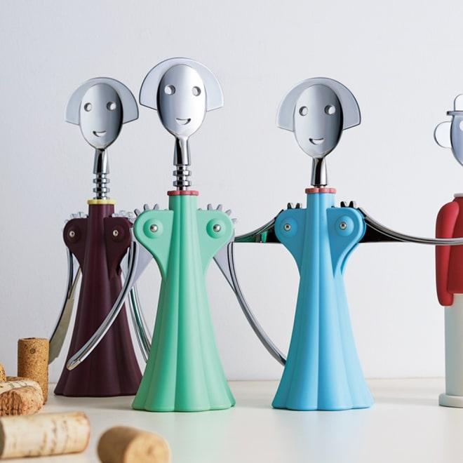 ALESSI アレッシィ ワインオープナー アンナ G. 左から(ウ)ダークレッド (イ)グリーン (ア)ブルー
