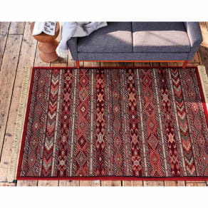 約100×140cm(ベルギー製ウィルトン織ウールラグ/マット〈マハール〉 ラグ) 写真