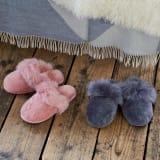 ふわふわムートンスリッパ 色が選べるお得な2足組 写真