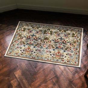 約60×90cm(ベルギー製モリスデザインスタジオ ウィルトン織マット〈いちご泥棒〉) 写真