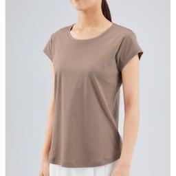 シルクコラーゲン加工スーピマ綿フレンチTシャツ (ウ)モカ コーディネート例