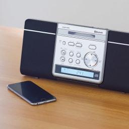 薄型2WAY CDプレーヤー Bluetooth(R)機器に対応し、スマートフォンに入れた音楽も楽しむことができます。