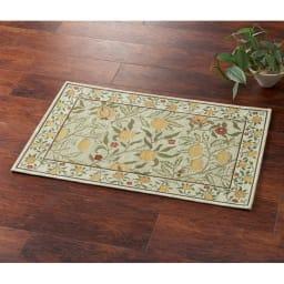 ベルギー製モリスゴブラン織マット〈フルーツ〉 (イ)グリーン系 ※写真は約60×90cmタイプです。