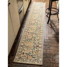 ベルギー製モリスゴブラン織マット〈フルーツ〉 (ア)イエロー系 ※写真は約45×240cmタイプです。