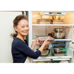 有元葉子のラバーゼ 角バットセット 角バット+角ざる 2枚セット 蓋があると冷蔵庫で重ねて収納できて便利です。(プレート蓋は別売りです)