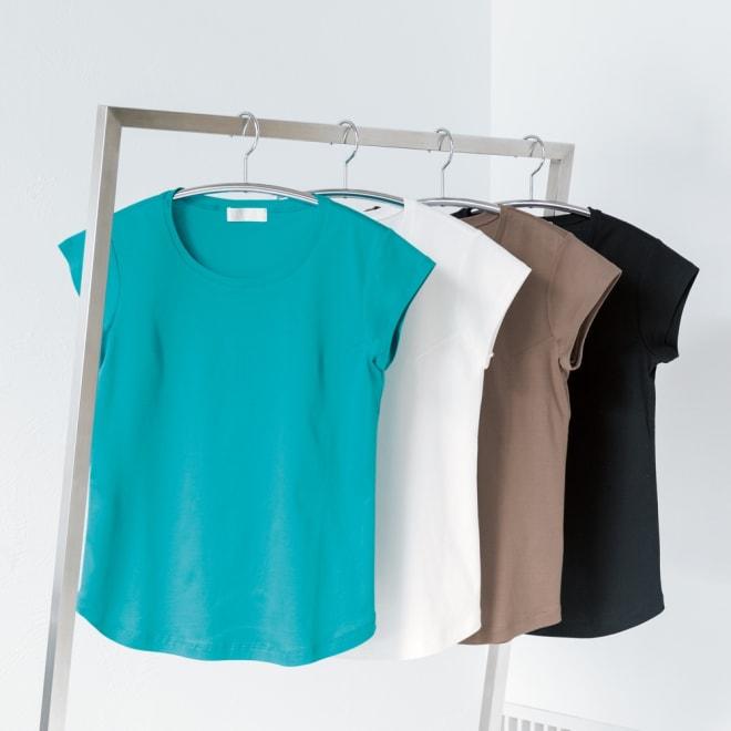 シルクコラーゲン加工スーピマ綿フレンチTシャツ 左から(エ)ターコイズ (ア)ホワイト (ウ)モカ (イ)ブラック
