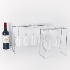 ステンレスのグラスホルダー 幅25cm グラス2脚用 写真