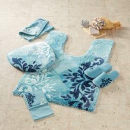 クローリートイレタリー ハンドタオル同色2枚組 [コーディネート例] (ア)ブルー ※お届けはハンドタオル同色2枚組です。