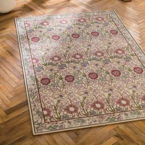 200×240cm(ベルギー製モリス ゴブラン織ラグ〈ピンク&ローズ〉) 写真