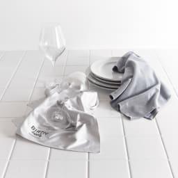 BIRDY. Supply 2度拭きいらずのキッチンタオルと拭けばピカピカのグラスタオル キッチンタオル1枚+グラスタオル1枚セット