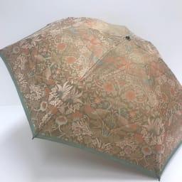 V&A モリス  いちご泥棒 ジャカード生地晴雨兼用傘 折りたたみ傘 (ウ)ベージュ/オレンジ